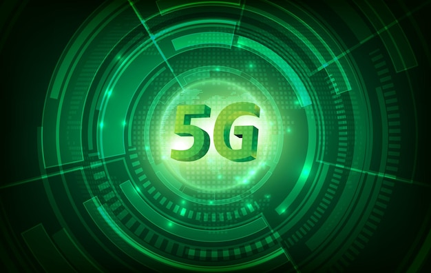 5gの通信ネットワークの概念とグリーンテクノロジーの背景。高速インターネットと接続。 Premiumベクター