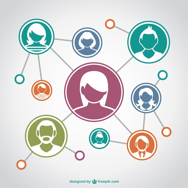 Communication network with assorted avatars Free Vector