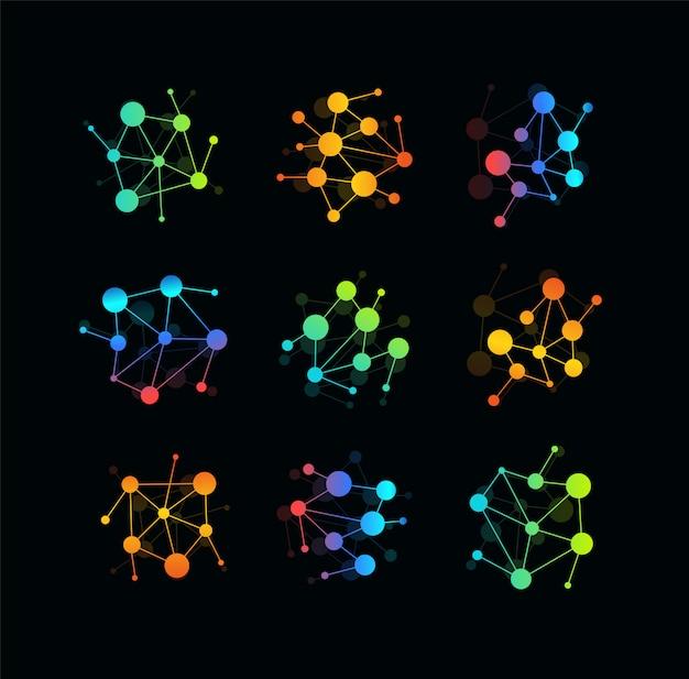 通信技術のアイコン。線、円のロゴテンプレートのネットワークで接続された色のドット。モダンなエンブレムのアイデア。 Premiumベクター
