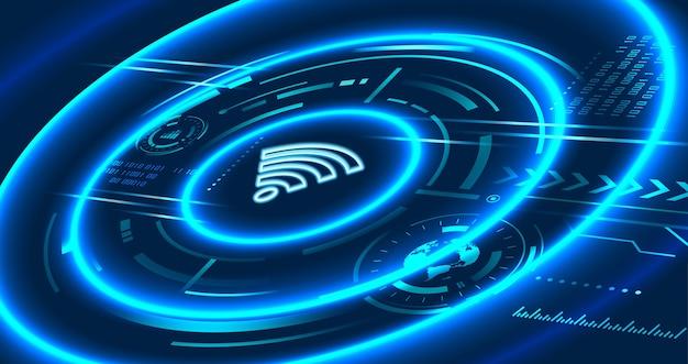 未来的なコンセプトの通信技術、wifiサインアイコン、ワイヤレスおよび高速インターネット Premiumベクター
