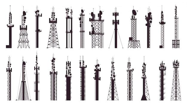 Communication tower antenna. broadcast technology tv, radio signal station. wireless cellular tower  illustration icons set. broadcast equipment, wireless technology towering for internet Premium Vector
