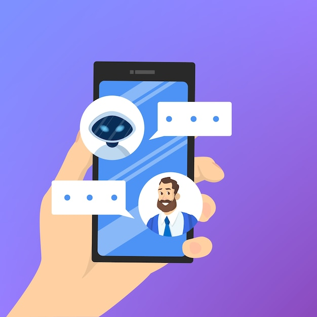 Communication with a chatbot concept. customer service Premium Vector
