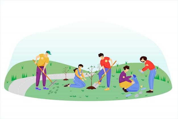 Сообщество рабочий день плоской иллюстрации. волонтеры-активисты изолировали героев мультфильмов на белом фоне. молодежь убирает мусор и сажает деревья. концепция защиты окружающей среды Premium векторы