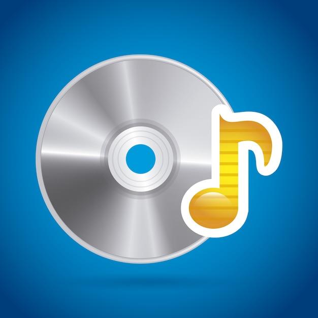 Compact disc design over blue background Premium Vector
