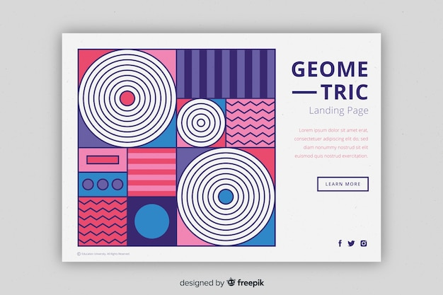 Compact geometric shapes landing page Free Vector
