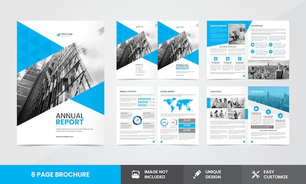 Company annual report brochure  template Premium Vector