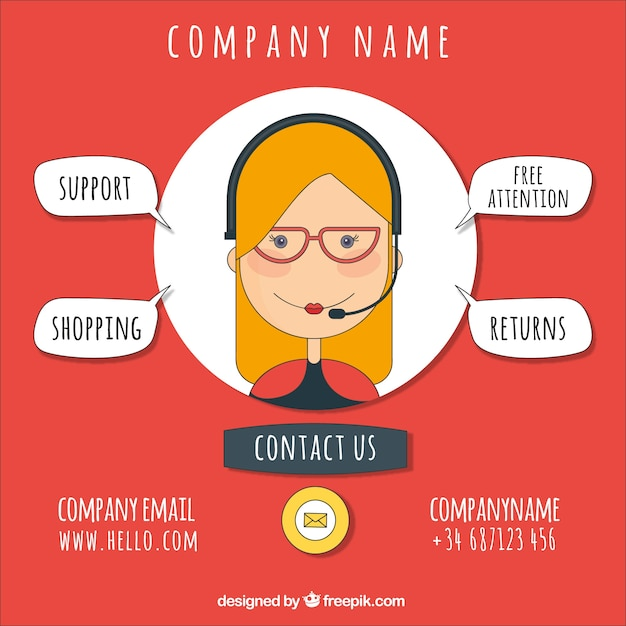 Company background with callcenter girl Free Vector
