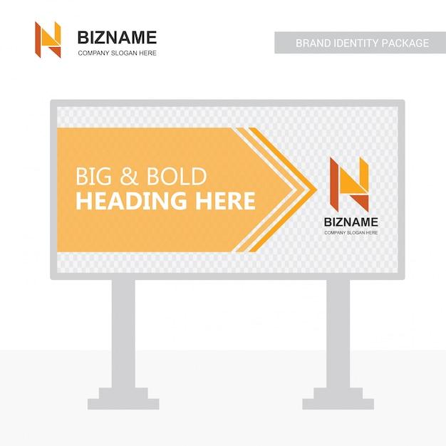 Company bill board design vector with n logo Free Vector