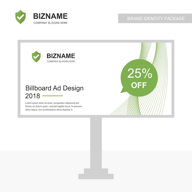 Company bill board design vector with sheild logo Premium Vector