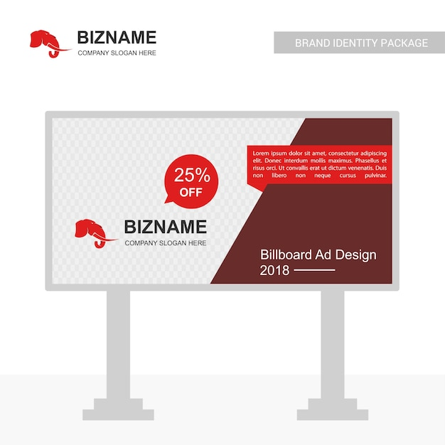 Company bill board design with elephant logo vector Free Vector