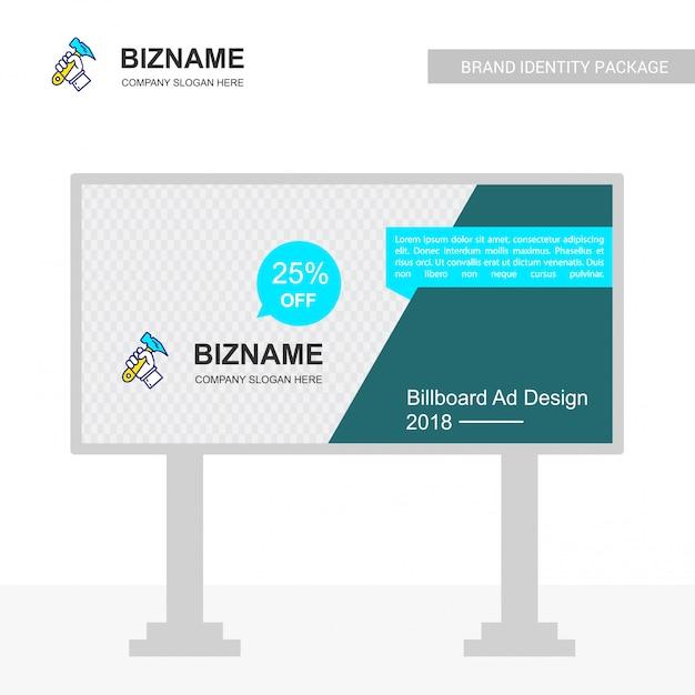 Company bill board design with hammer logo vector Free Vector