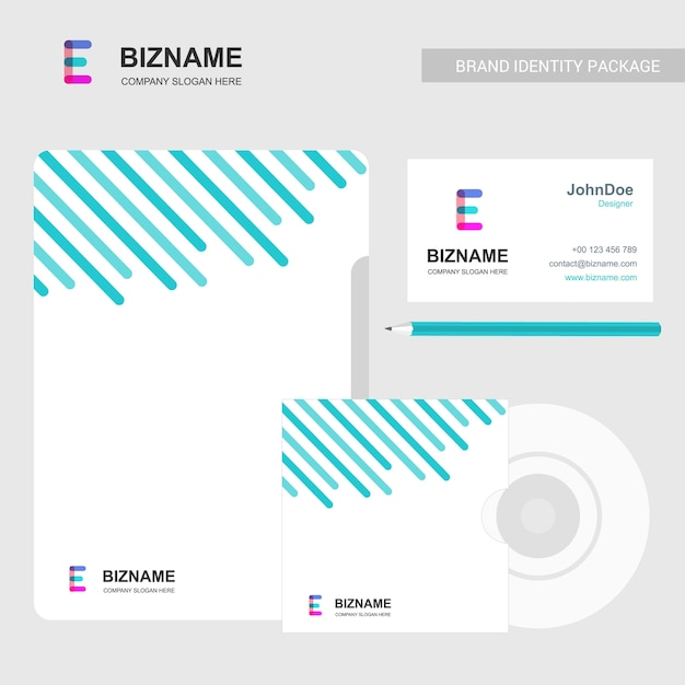 Company brochure design with light theme and e logo vector Free Vector