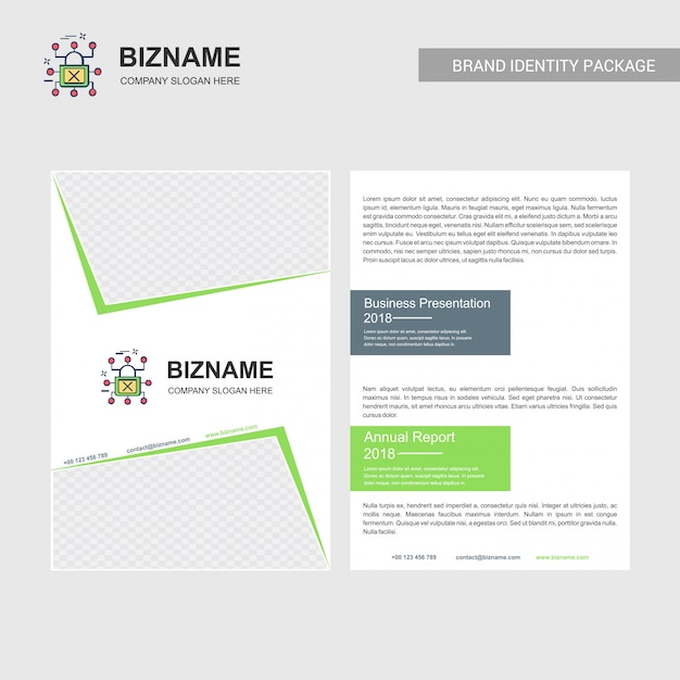 Company brochure with company logo and stylish design Free Vector