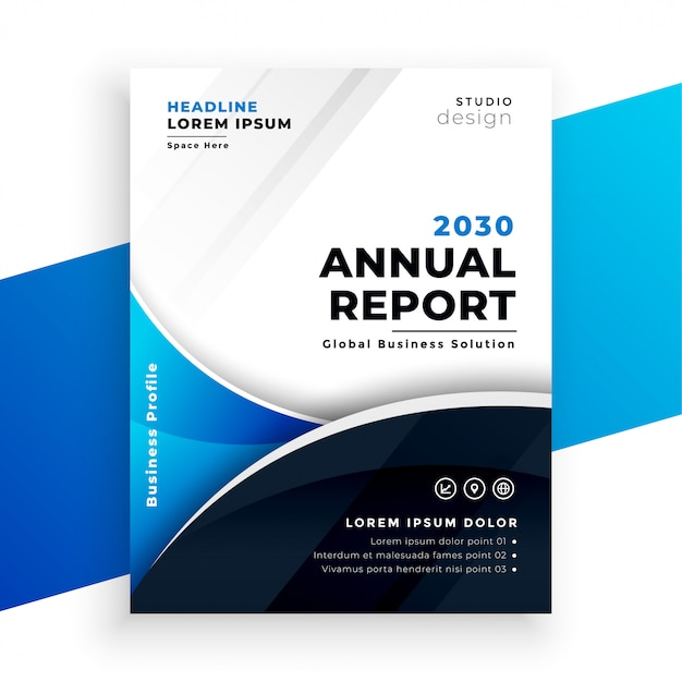 Company business annual report brichure template design Free Vector