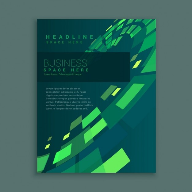 Company business brochure with green squares Free Vector