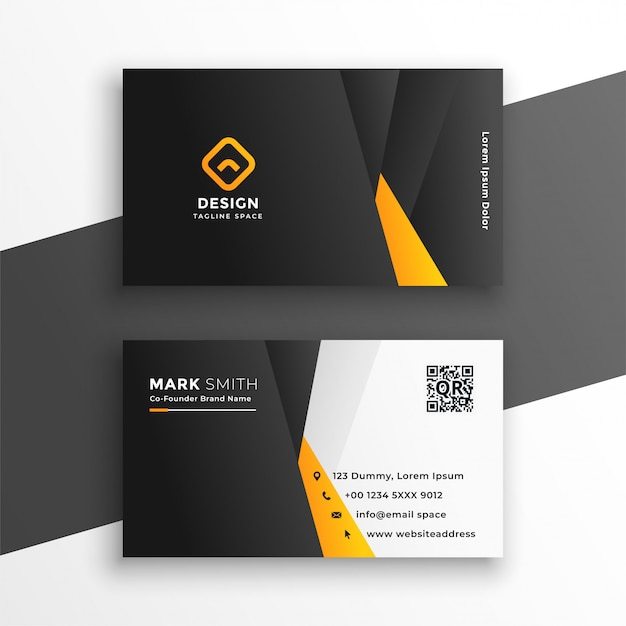 Company business card in yellow geometric style Free Vector