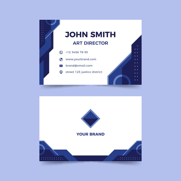 Company card template with abstract classic blue shapes Free Vector