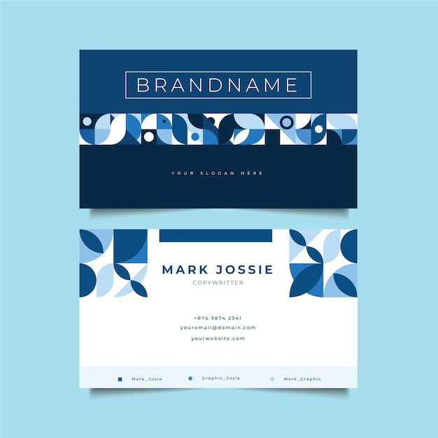 Company card template with blue shapes Free Vector
