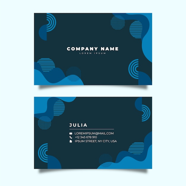 Company card with classic blue geometrical shapes Free Vector