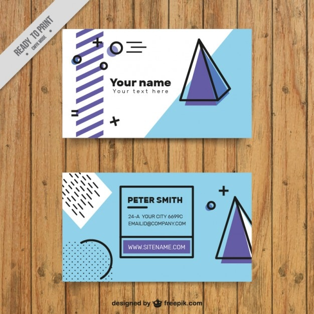 Company card with pyramid and abstract shapes Free Vector