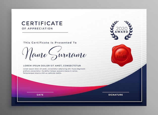 Company certificate template elegant design vector illustration Free Vector