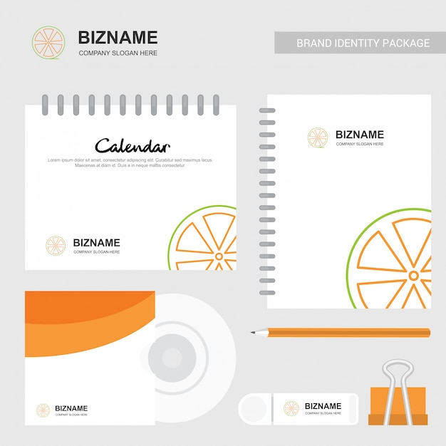 Company design brochure with stationary items vector Free Vector