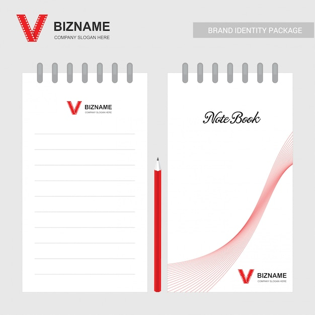 Company design note book with red theme with with video logo Free Vector
