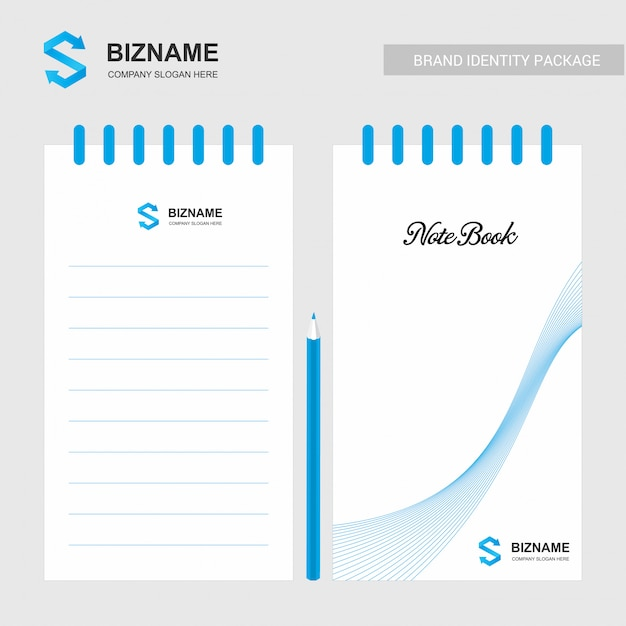 Company design notepad with logo and stylish design Free Vector