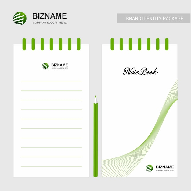 Company design notepad with logo vector Premium Vector
