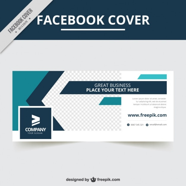 Company facebook cover with abstract shapes