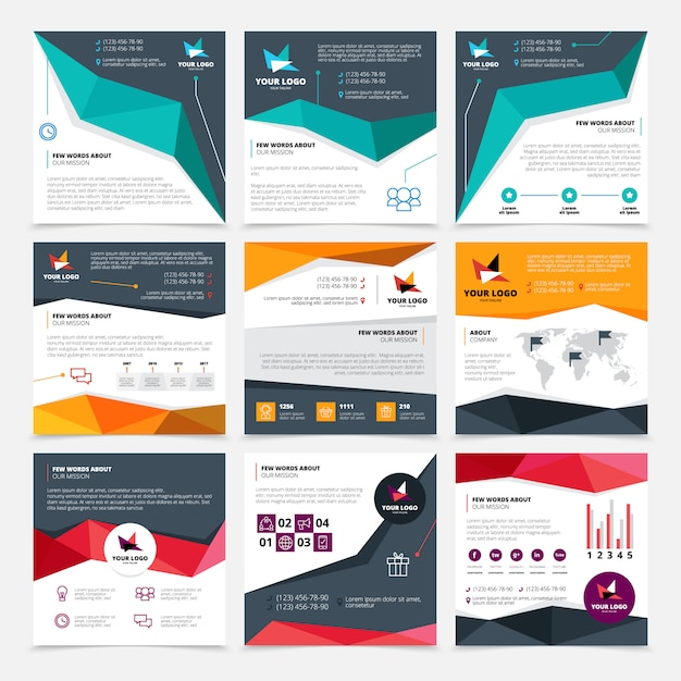 Company flyer templates set with mission and data symbols flat isolated vector illustration Free Vector