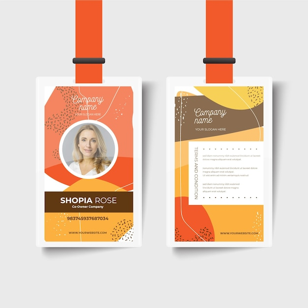 Company front and back id card template Premium Vector