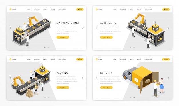 Company industrial process landing page template. factory stages of product assembly and transportation Premium Vector