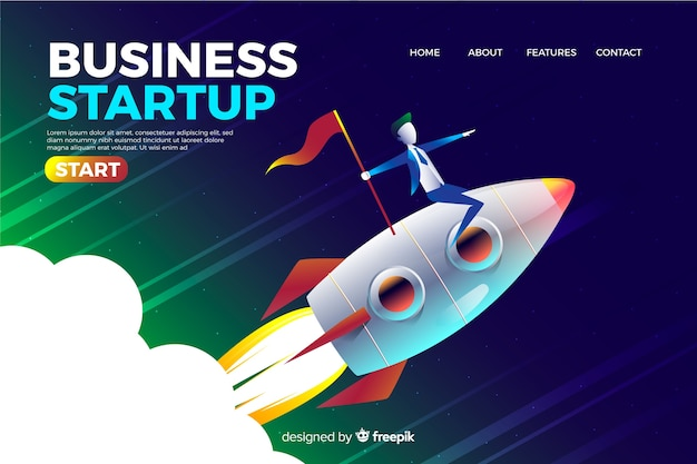 Company landing page with rocket Free Vector
