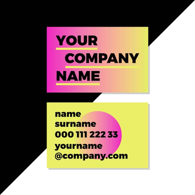 Company logo gradient neon business cards Free Vector