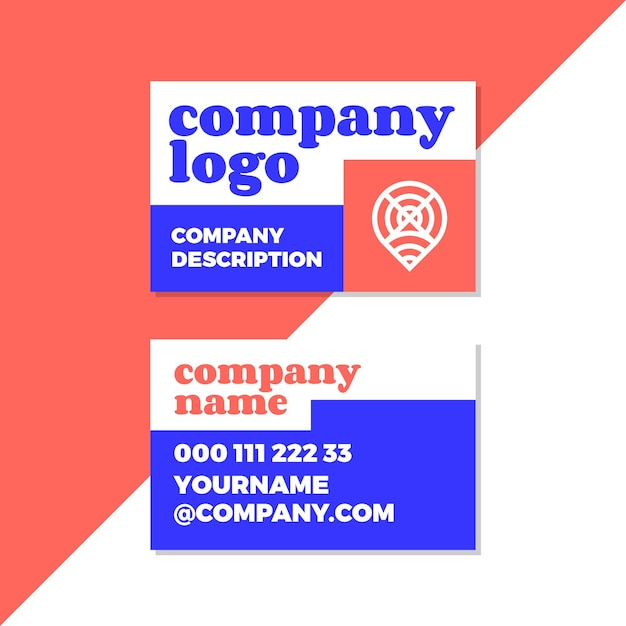 Company logo in neon colored business cards Free Vector