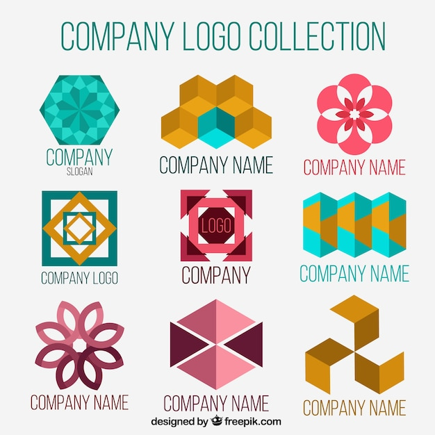 Company logos with abstract shapes