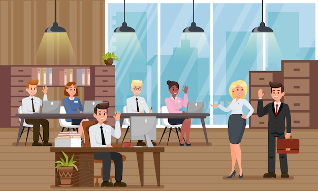 Company managers welcome new colleague in officce. Premium Vector
