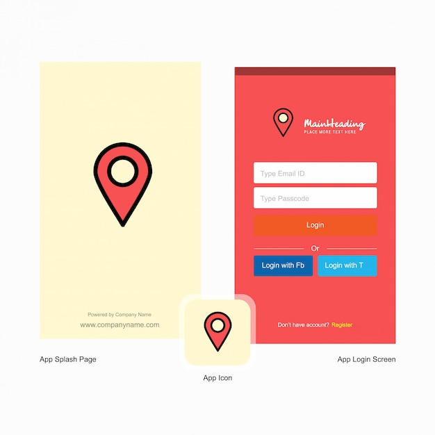 Company map pointer splash screen and login page Free Vector