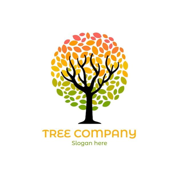 Company nature tree logo template gradient coloured Premium Vector