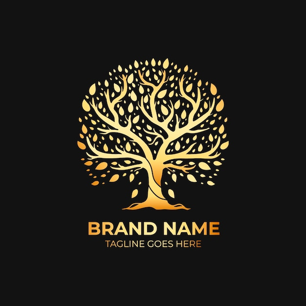 Company nature tree logo template luxury gold style Free Vector