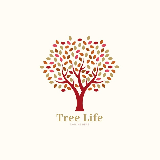 Company nature tree logo template spring leaves Premium Vector