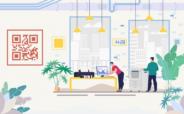Company office with modern equipment flat vector Premium Vector