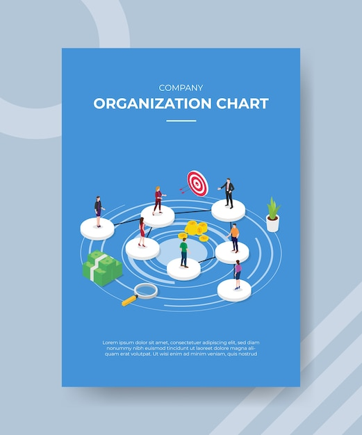 Company organization chart people standing on circle shape for template of banner and flyer Free Vector