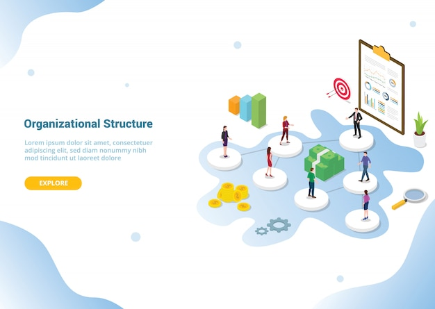 Company or organization structure for website template Premium Vector