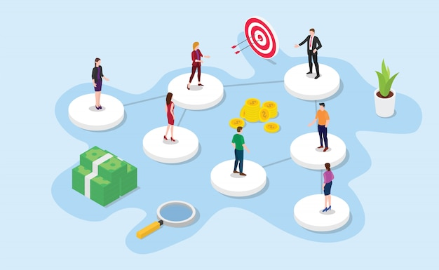 Company or organization structure with isometric or isometry style Premium Vector