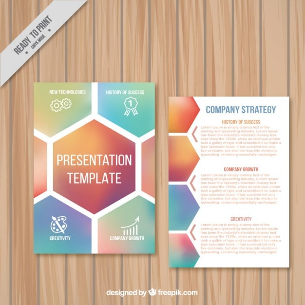 Perfect Company Presentation Template With Hexagons Idea Booklet Template