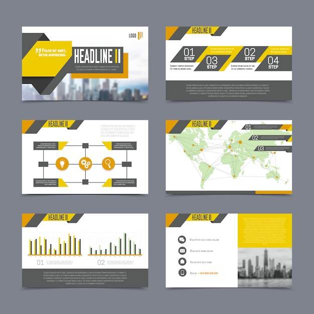Company presentation templates set on grey background flat isolated vector illustration Free Vector