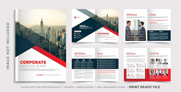 Company profile brochure template, multipage brochure design