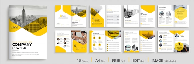 黄色の色の図形、複数ページのパンフレットのデザインを持つ会社プロファイルテンプレートデザイン Premiumベクター